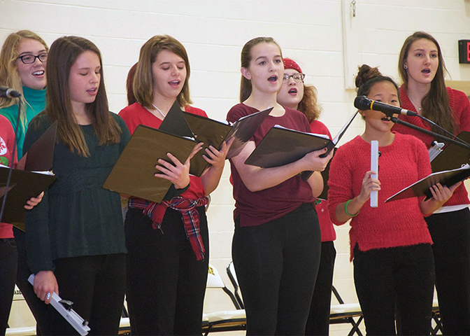 The Panda Tones signing group at a practice at Notre Dame Academy catholic all-girls school in Covington, Northern Kentucky.