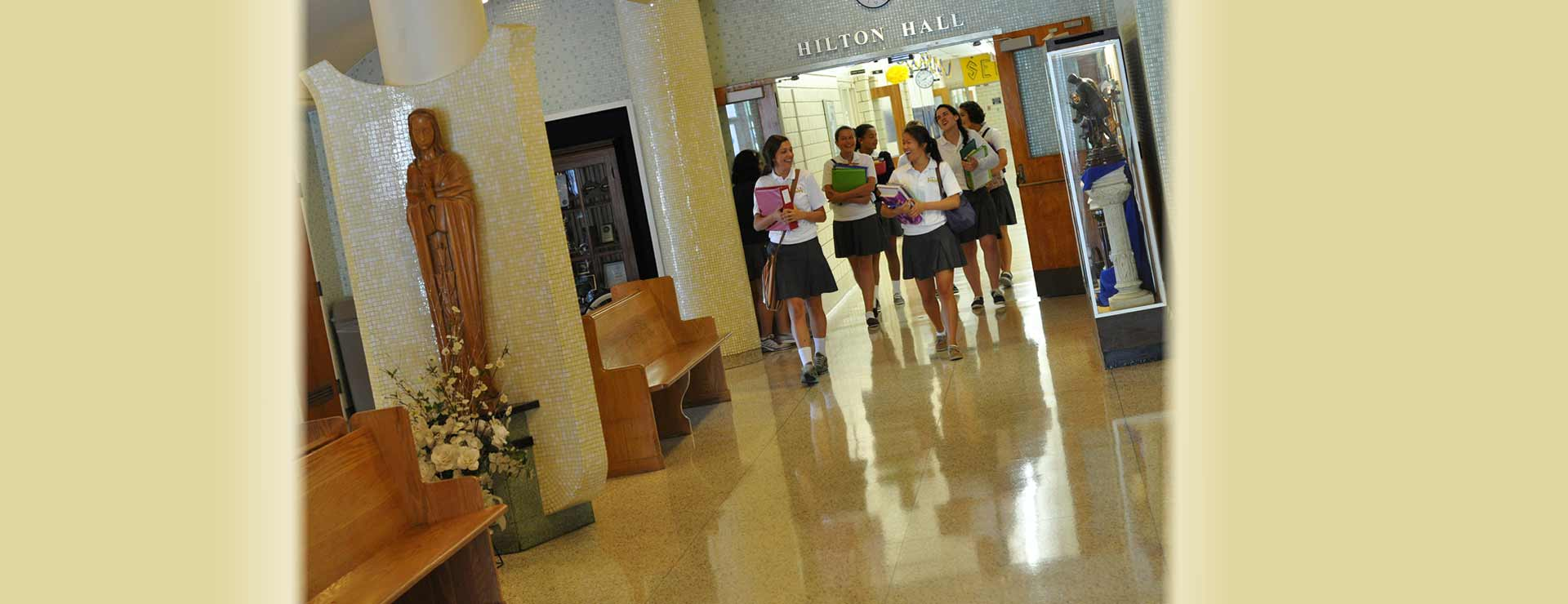 Students walking through the halls of Notre Dame Academy catholic all-girls school in Covington, Northern Kentucky.