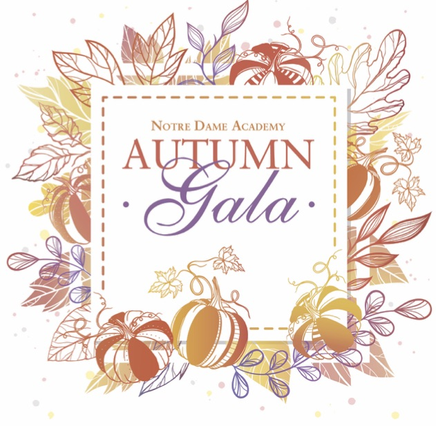 Poster for the Autumn Gala event held for Notre Dame Academy the catholic all girls school in Northern Kentucky.