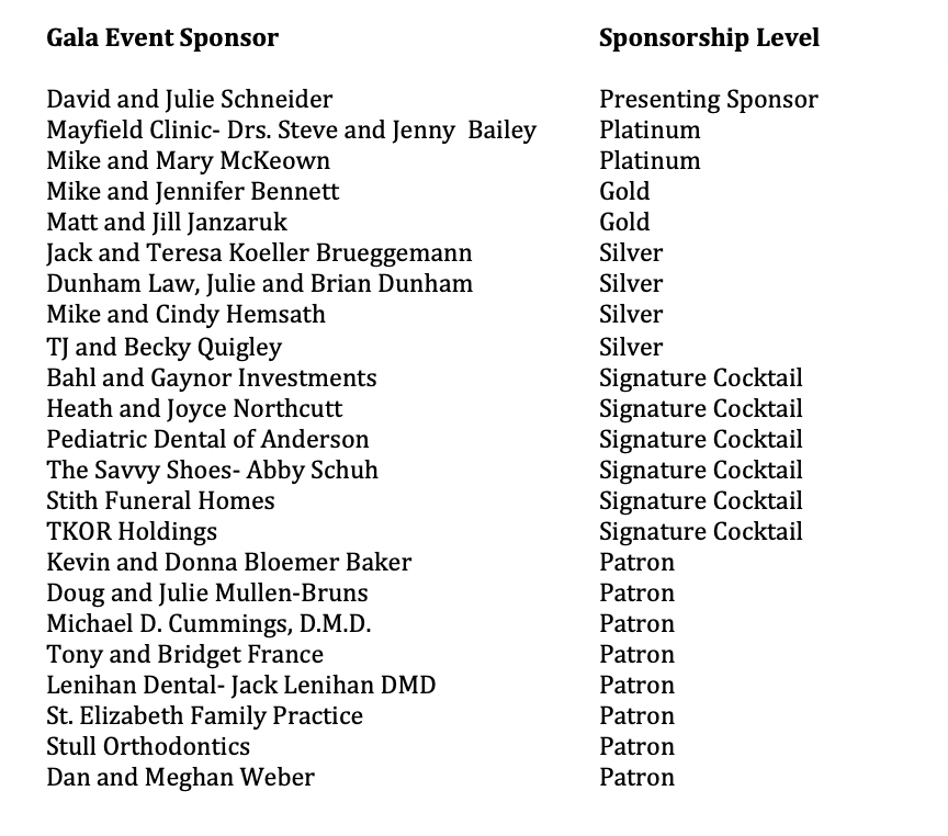 A list of the numerous donors of the Autumn Gala event held for Notre Dame Academy the catholic all girls school in Northern Kentucky.
