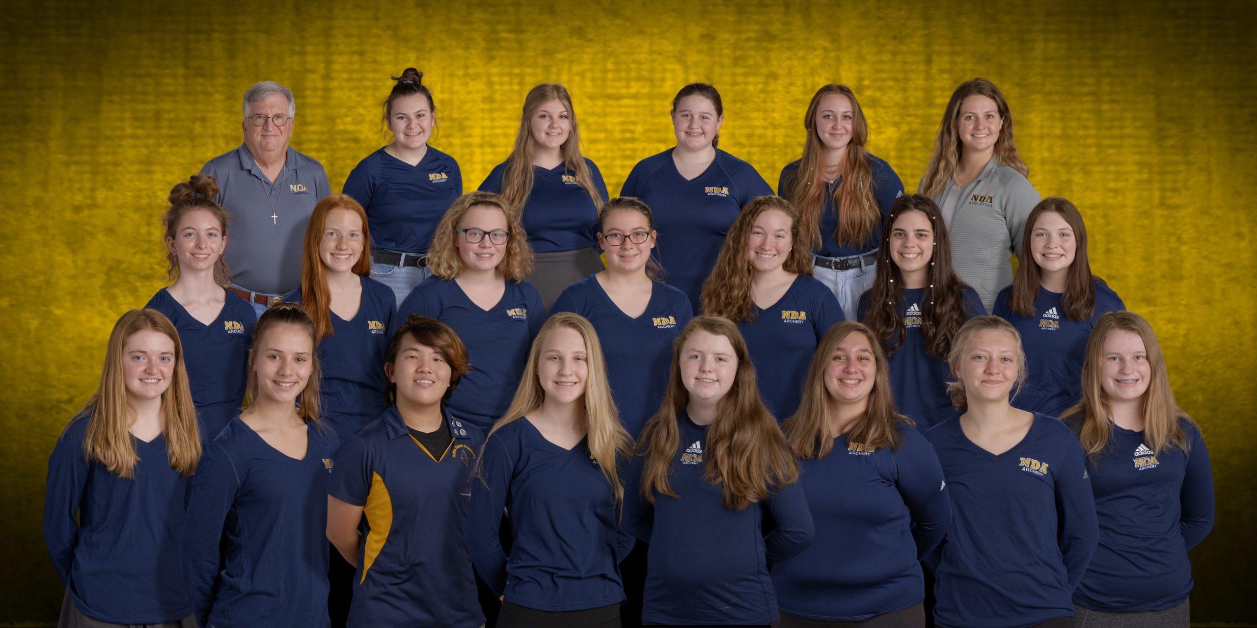 2021 Archery team at the Notre Dame Academy catholic all-girls school in Covington, Northern Kentucky.