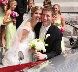 Kateylyn Stenger and her husband at their marriage, alumnae from the Notre Dame Academy catholic all-girls school in Covington, Northern Kentucky