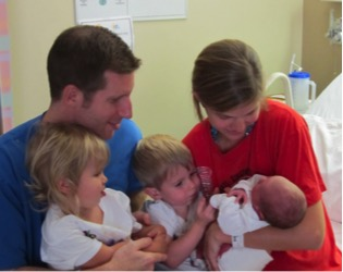 Kateylyn Stenger and her family at the hospital, alumnae from the Notre Dame Academy catholic all-girls school in Covington, Northern Kentucky