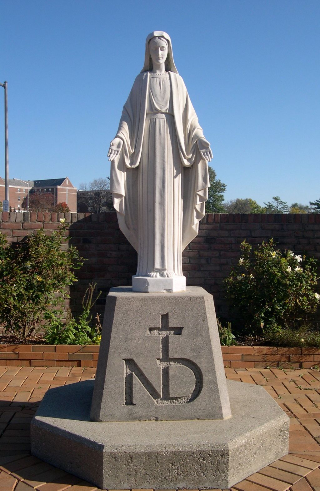 The statue of the Virgin Mary outside at the Notre Dame Academy catholic all-girls school in Covington, Northern Kentucky.