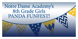 Flyer for the Panda Fun Fest event at Notre Dame Academy catholic all-girls school in Covington, Northern Kentucky.