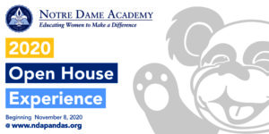 Flyer for the 2020 Open House event at Notre Dame Academy catholic all-girls school in Covington, Northern Kentucky.