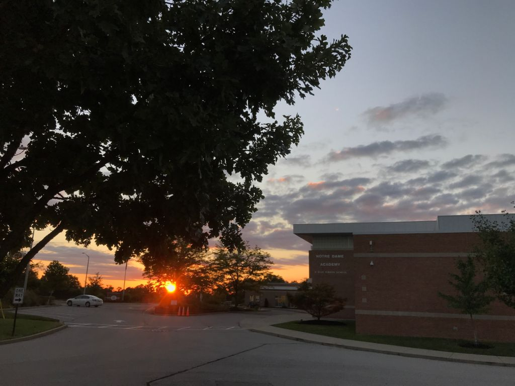 A view of the sunset on the campus at the Notre Dame Academy catholic all-girls school in Covington, Northern Kentucky.