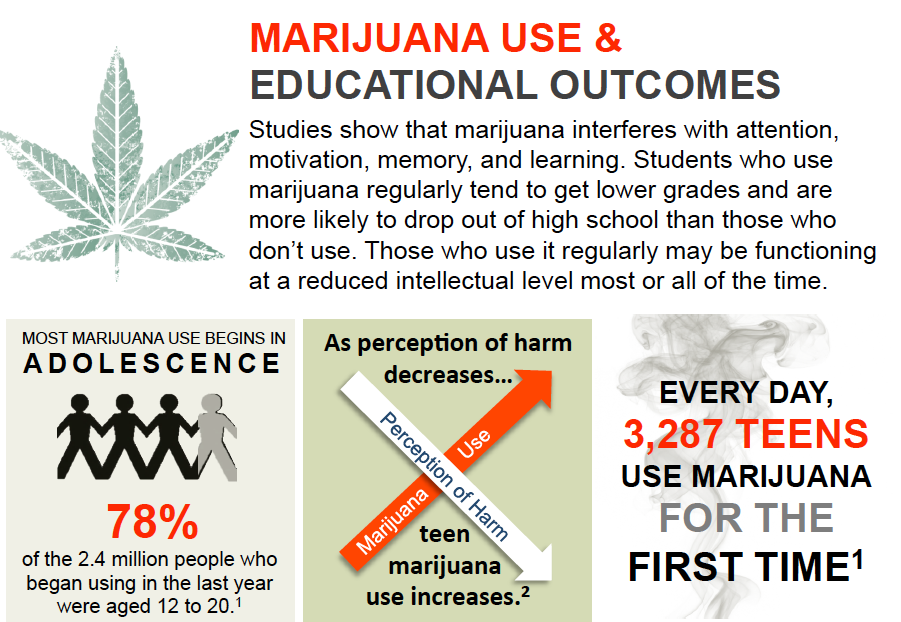 Educational poster on the negative effects of marijuana use for Notre Dame Academy catholic all-girls school in Covington, Northern Kentucky.