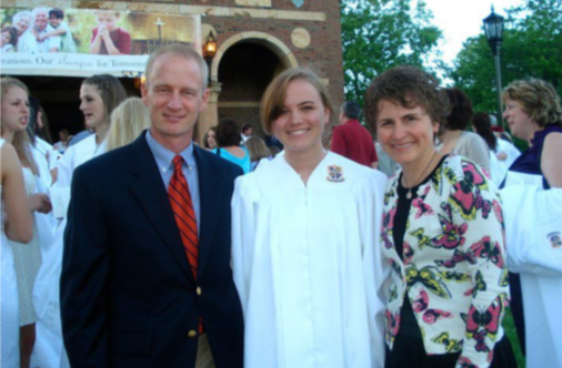 Caitlin Dwyer with her family at high school graduation, alumnae from the Notre Dame Academy catholic all-girls school in Covington, Northern Kentucky