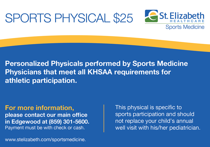 A flyer for student athletes to get a physical exam with St. Elizabeth's Hospital.