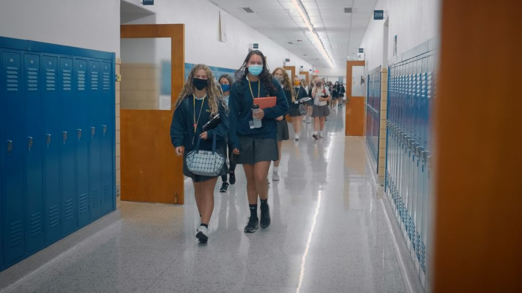 Students walking down the hallways in between classes at the Notre Dame Academy catholic all-girls school in Covington, Northern Kentucky.