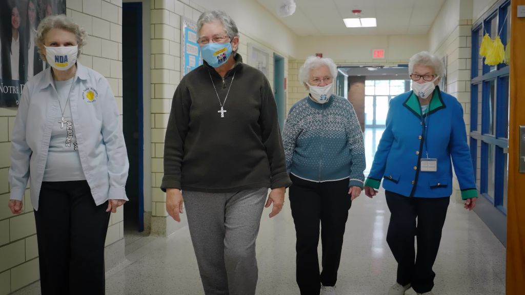 Alumnae or the Sisters of Notre Dame walking the halls at the Notre Dame Academy catholic all-girls school in Covington, Northern Kentucky.