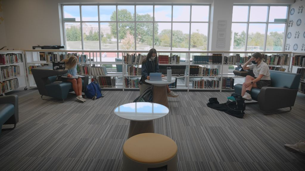 Students sitting and studying in the library at the Notre Dame Academy catholic all-girls school in Covington, Northern Kentucky.