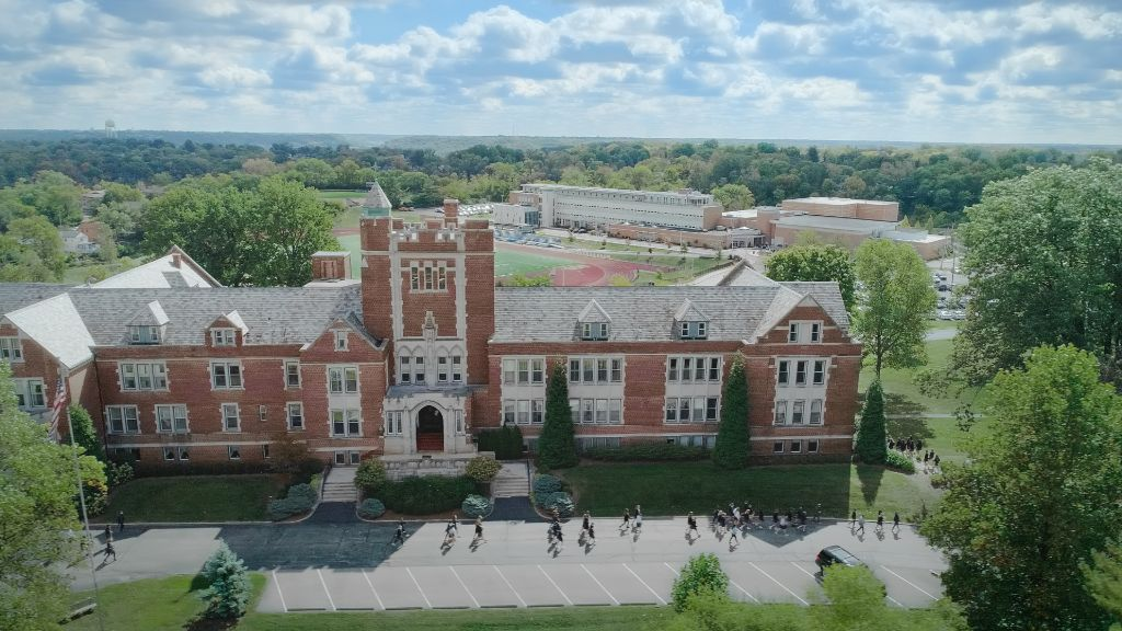 A view from above of the main building at the Notre Dame Academy catholic all-girls school in Covington, Northern Kentucky.