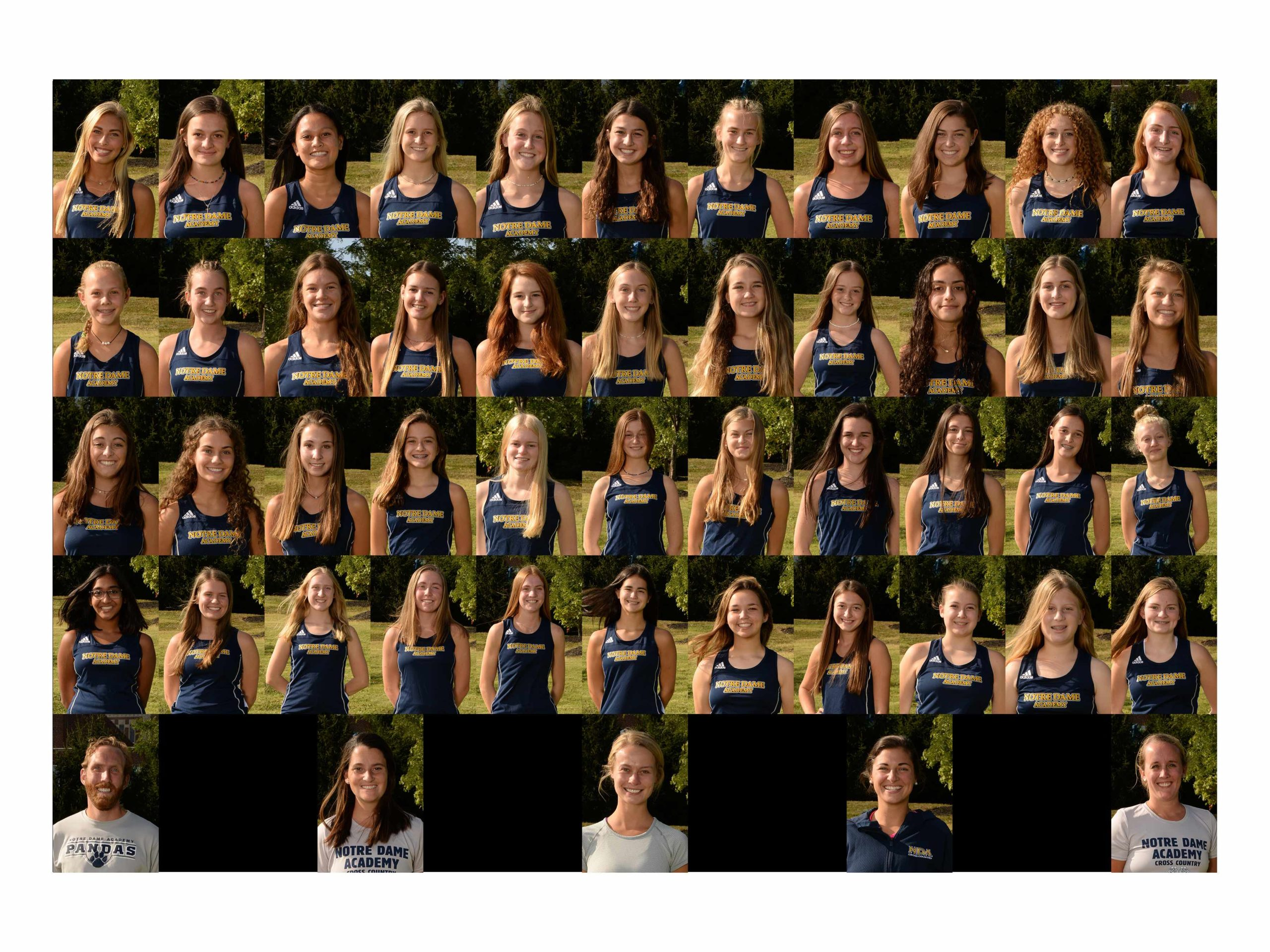 2020 Cross Country team photo, at the Notre Dame Academy catholic all-girls school in Covington, Northern Kentucky.