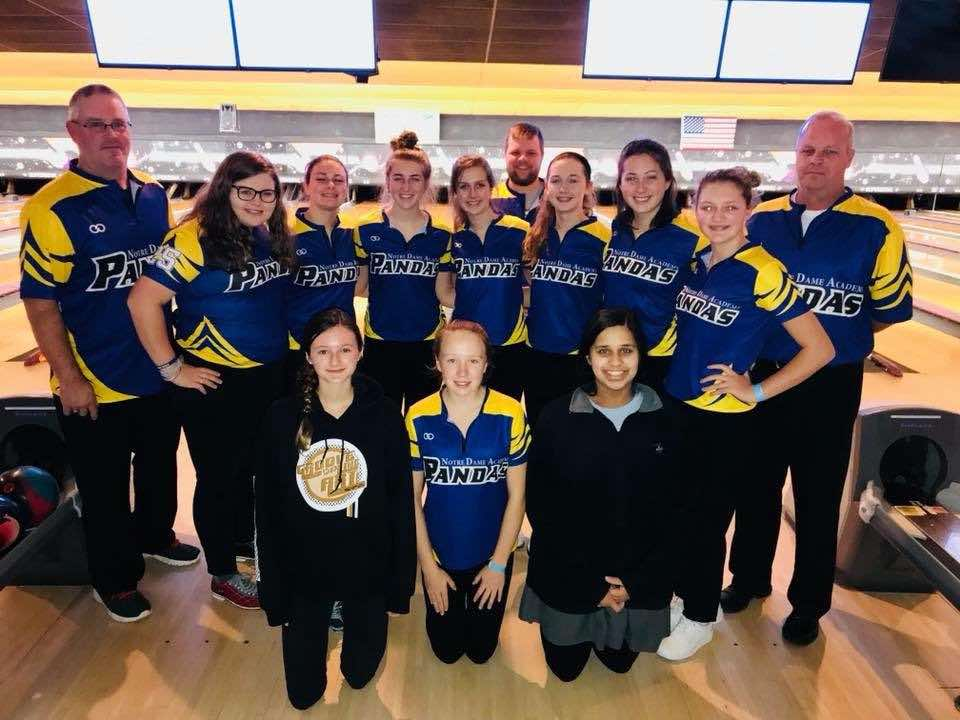 2017-2018 Varsity bowling team at the Notre Dame Academy catholic all-girls school in Covington, Northern Kentucky.