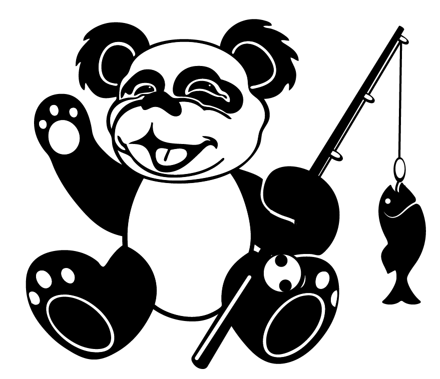 The fishing panda mascot for the bass fishing team at the Notre Dame Academy catholic all-girls school in Covington, Northern Kentucky.