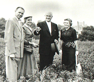 May 1956 Conrad Hilton visits the future site of Notre Dame Academy catholic all-girls school in Covington, Northern Kentucky