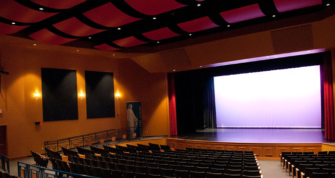 The performing arts theater with the curtain open at Notre Dame Academy catholic all-girls school in Covington, Northern Kentucky.