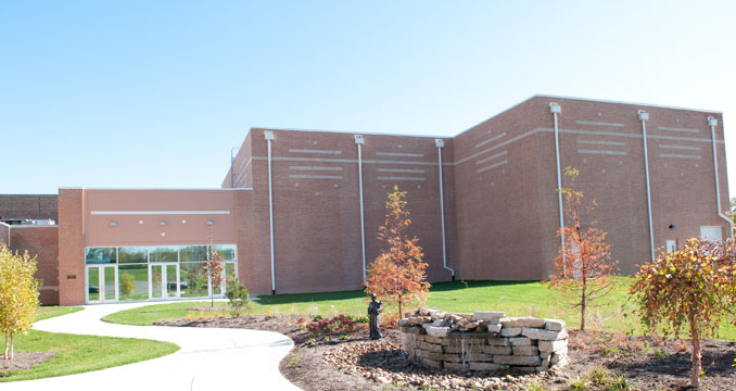 A view of the theater building from outside at Notre Dame Academy catholic all-girls school in Covington, Northern Kentucky.