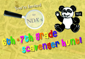 Flyer for the 6th and 7th grade scavenger hunt event at Notre Dame Academy catholic all-girls school in Covington, Northern Kentucky.